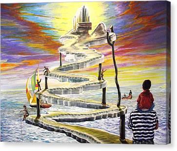 Grandpas Weird Stairway Canvas Print by Joe Santana