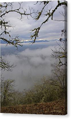 Grants Pass In The Fog Canvas Print by Mick Anderson