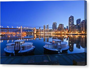 Granville Island At Dawn. The Vancouver Canvas Print by Rob Tilley
