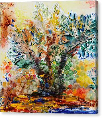 Canvas Print featuring the painting Grape Tree by Karen Fleschler