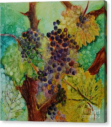 Canvas Print featuring the painting Grapes And Leaves V by Karen Fleschler