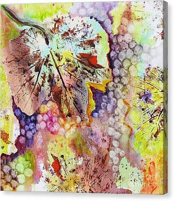 Canvas Print featuring the painting Grapes And Leaves Vi by Karen Fleschler