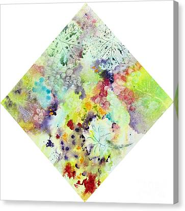 Canvas Print featuring the painting Grapes And Leaves Vii by Karen Fleschler