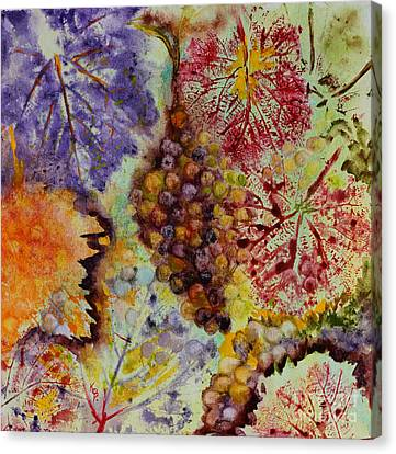 Canvas Print featuring the painting Grapes And Leaves Viii by Karen Fleschler
