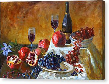 Grapes And Pomgranates Canvas Print by Ylli Haruni