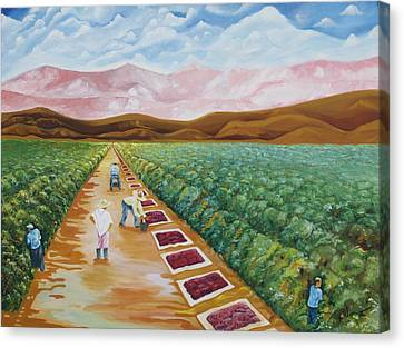 Grapes Farmers Canvas Print by Johnny Otilano