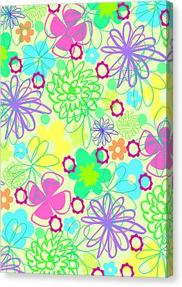 Graphic Flowers Canvas Print by Louisa Knight