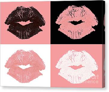 Graphic Lipstick Kisses Canvas Print