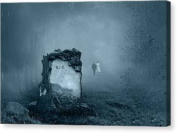 Grave In A Forest Canvas Print by Jaroslaw Grudzinski