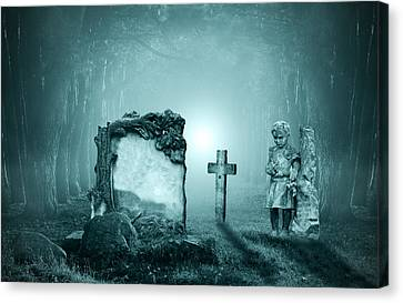 Graves In A Forest Canvas Print by Jaroslaw Grudzinski