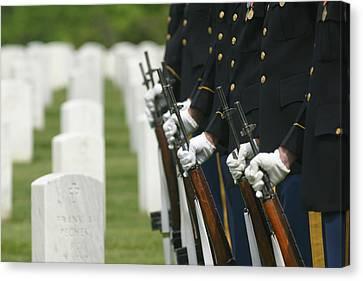 Gravestones And Honor Guard Canvas Print