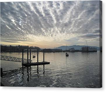 Canvas Print featuring the photograph Gray Day On Bellingham Bay by Karen Molenaar Terrell