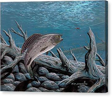 Canvas Print featuring the painting Grayling by Kurt Jacobson