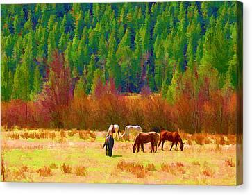 Canvas Print featuring the digital art Grazing by Brian Davis