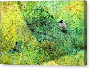 Canvas Print featuring the digital art Grazing The Pollock Field by Jean Moore