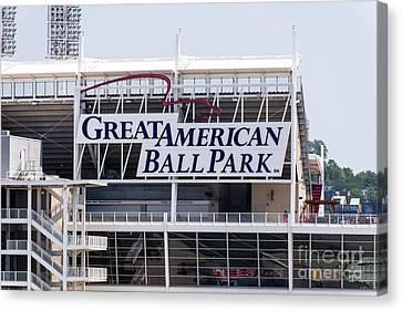 Great American Ball Park Sign In Cincinnati Canvas Print by Paul Velgos