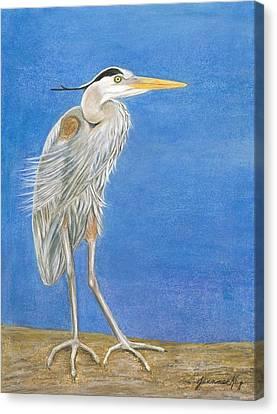 Great Blue Heron Windy Day Canvas Print by Jeanne Kay Juhos