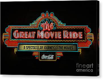 Great Movie Ride Neon Sign Hollywood Studios Walt Disney World Prints Poster Edges Canvas Print