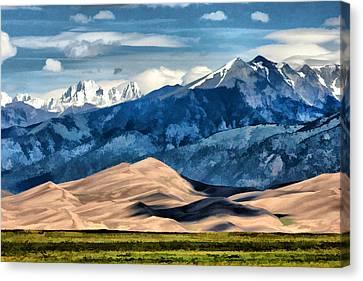 Canvas Print featuring the digital art Great Sand Dunes Summer by Brian Davis