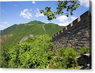 Great Wall At Mutianyu Canvas Print by Bridget Coila