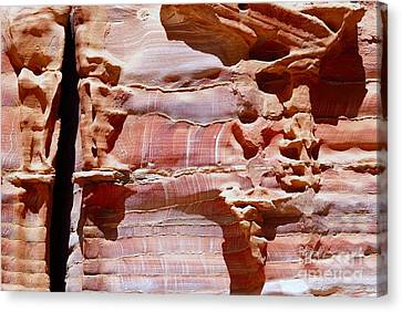 Petra Canvas Print - Great Wall Of Petra Jordan by Eva Kaufman