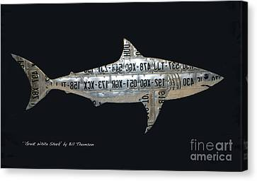 Canvas Print featuring the mixed media Great White Shark by Bill Thomson