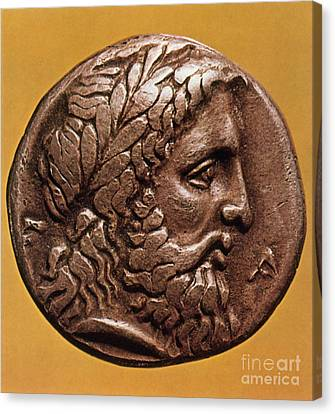 Zeus Canvas Print - Greek Coin With Zeus by Photo Researchers