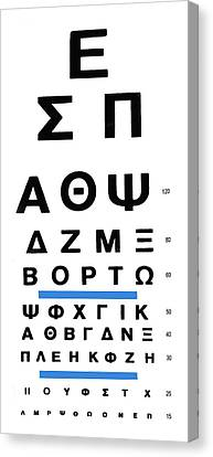 Greek Eye Chart Canvas Print