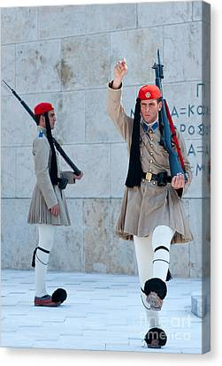 Greek Guards Canvas Print by Andrew  Michael