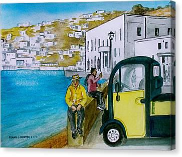 Greek Island Of Mykonis Canvas Print by Frank Hunter