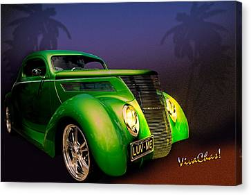 Green 37 Ford Hot Rod Decked Out For A Tropical Saint Patrick Day In South Texas Canvas Print by Chas Sinklier
