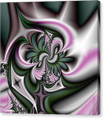 Green And Pink Fractal Canvas Print by Gina Lee Manley