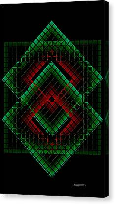 Green And Red Geometric Design Canvas Print by Mario Perez