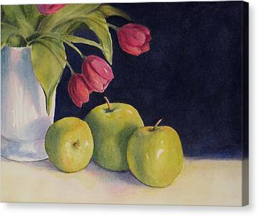 Canvas Print featuring the painting Green Apples With Tulips by Vikki Bouffard