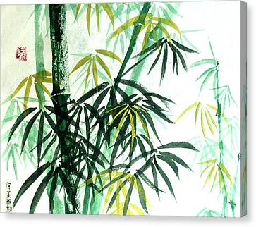 Canvas Print featuring the painting Green Bamboo by Alethea McKee