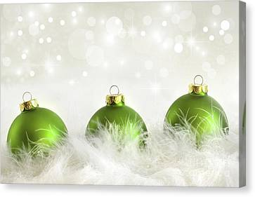 Merry -go- Round Canvas Print - Green Christmas Balls by Sandra Cunningham