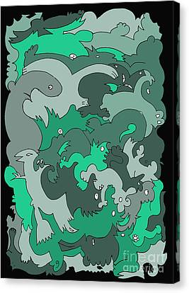 Green Creatures Canvas Print by Barbara Marcus