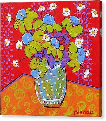 Green Daisy Bouquet Canvas Print by Blenda Studio