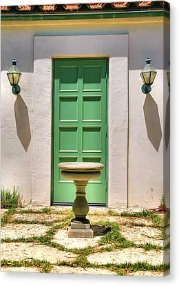 Green Door And Birdbath Canvas Print by Steven Ainsworth