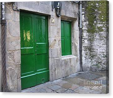 Canvas Print featuring the photograph Green Door by Arlene Carmel