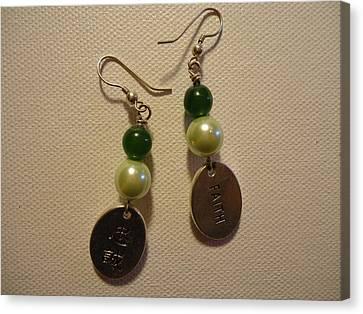 Green Faith Earrings Canvas Print by Jenna Green