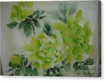 Canvas Print featuring the painting Green Flower ----- 001 by Dongling Sun