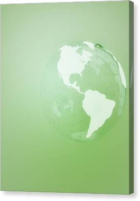 Green Globe Of The Americas Canvas Print by Jason Reed