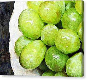 Green Grapes On A Plate Canvas Print by Andee Design
