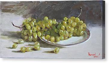 Green Grapes Canvas Print - Green Grapes  by Ylli Haruni