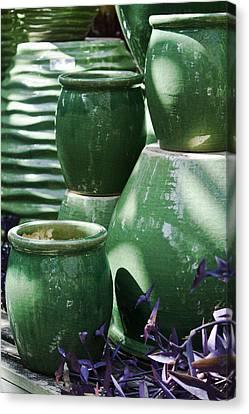 Ceramic Glazes Canvas Print - Green Grouping 2 by Teresa Mucha