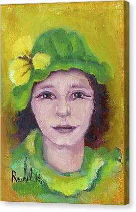 Green Hat Face Canvas Print by Rachel Hershkovitz