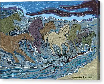 Green Horse Wave Canvas Print by Susie Morrison
