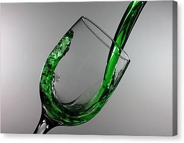 Green Juice Splashing From A Wine Glass Canvas Print