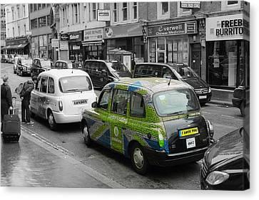 Green London Taxi Canvas Print